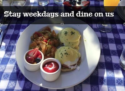 Stay Weekdays and Dine on Us